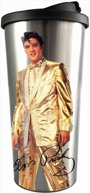 Elvis Gold The King Travel Mug   Merchandise