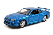 Fast & Furious - 2002 Nissan Skyline GTR R34 Silver 1:32 Scale Hollywood Ride | Merchandise