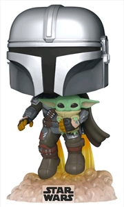 Star Wars: The Mandalorian - Mandalorian with the Child Jetpack Flying Pop! Vinyl | Pop Vinyl