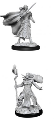 Magic the Gathering - Unpainted Miniatures: Elf Fighter & Elf Cleric | Games