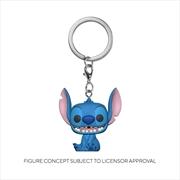 Lilo and Stitch - Stitch Flocked US Exclusive Pocket Pop! Keychain [RS] | Pop Vinyl