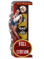 Man Cave Full Service Station Gas n Go Tin Double Sided Wall Sign Light | Accessories