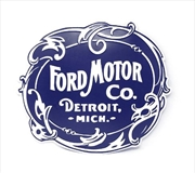 Vintage Ford Motor Co. Logo Shaped And Embossed Metal Wall Decor Sign | Merchandise