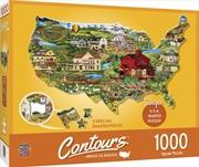 Masterpieces Puzzle Contours Shaped United States Shape Puzzle 1,000 pieces | Merchandise