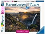 Haifoss Waterfall Iceland 1000 Piece Puzzle | Merchandise