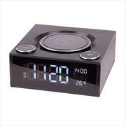 Laser Qi Wireless Charging Alarm Clock with Bluetooth Speaker   Apparel