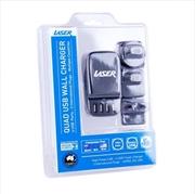 Laser - 4 Port USB Travel Charger (AU EU USA) - BLACK | Accessories