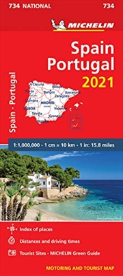 Spain & Portugal 2021 - Michelin National Map 734: Maps (Michelin National Maps) | Sheet Map