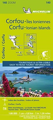 Michelin ZOOM Corfu and the Ionian Islands Map 140: Greece | Sheet Map