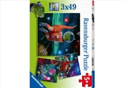 Dinosaurs In Space 3 X 49 Piece Puzzle   Merchandise