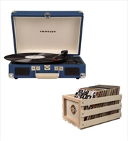 Crosley Cruiser Bluetooth Portable Turntable with Storage Crate - Blue | Hardware Electrical