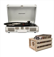 Crosley Cruiser Bluetooth Portable Turntable with Storage Crate - White Sands | Hardware Electrical