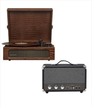 Crosley Voyager Bluetooth Portable Turntable with Speaker - Brown Croc | Hardware Electrical