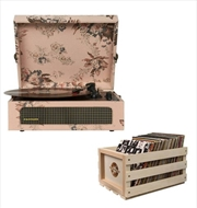 Floral Crosley Voyager Bluetooth Portable Turntable with Storage Crate | Hardware Electrical