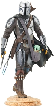 Star Wars: The Mandalorian - Mandalorian with The Child Premier Statue | Merchandise