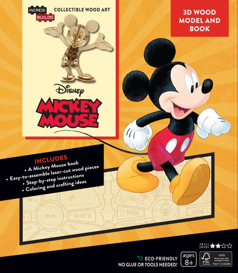Incredibuilds Walt Disney Mickey Mouse 3D Wood Model And Book | Merchandise