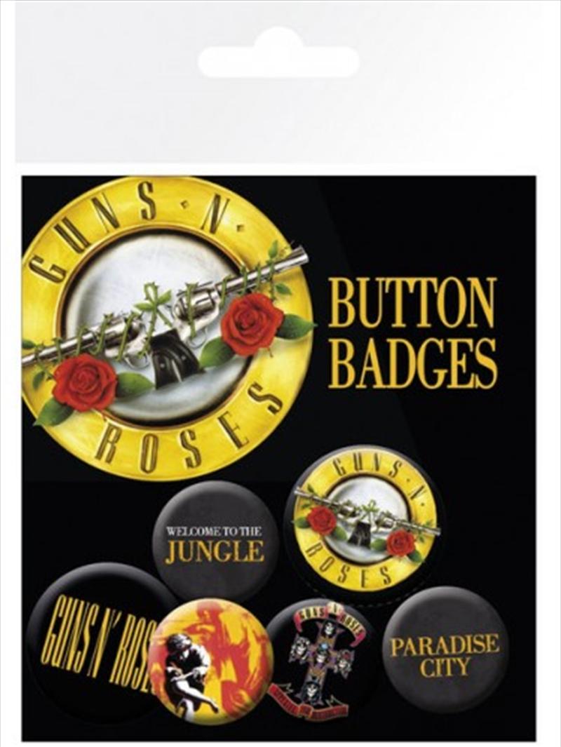 Guns N Roses Lyrics and Logos Badge 6 Pack | Merchandise