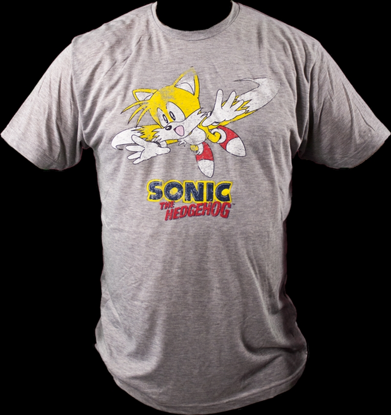 Sonic the Hedgehog - Tails Classic Grey Marle Male T-Shirt M | Apparel