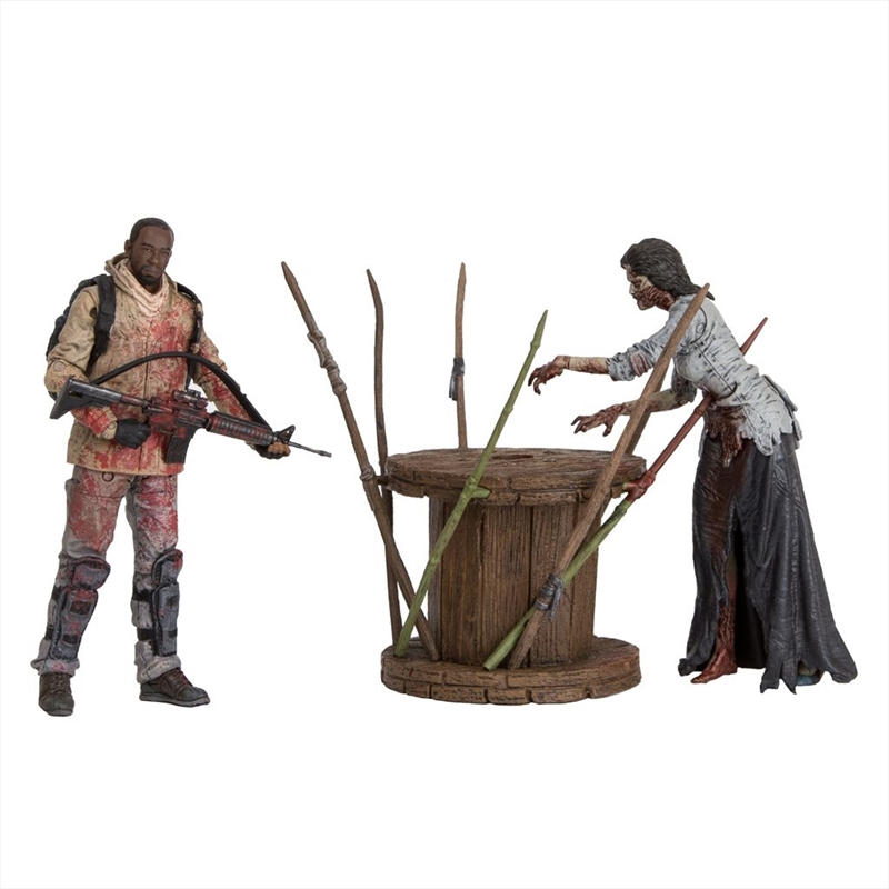"The Walking Dead - 7"" Morgan with Impaled Walker & Spike Trap Action Figure Set 