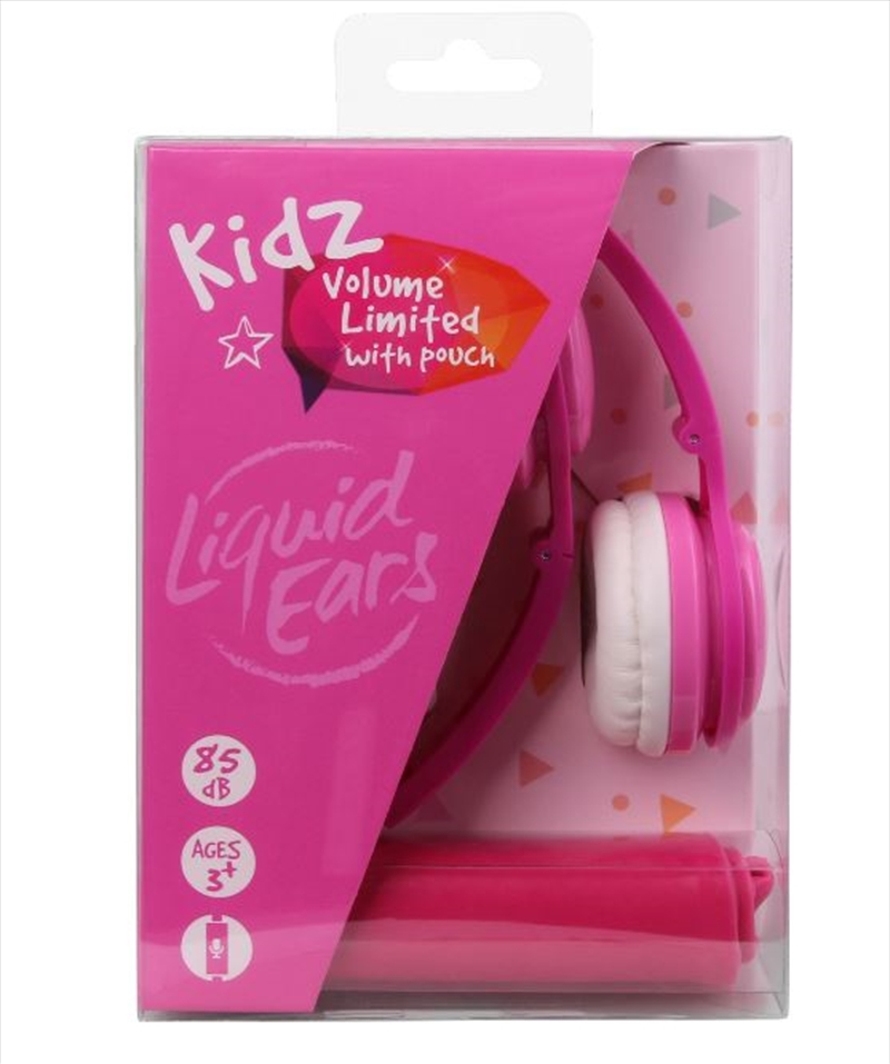 Liquid Ears - Kids Foldable Headphones With Microphone & Storage Pouch Pink | Accessories