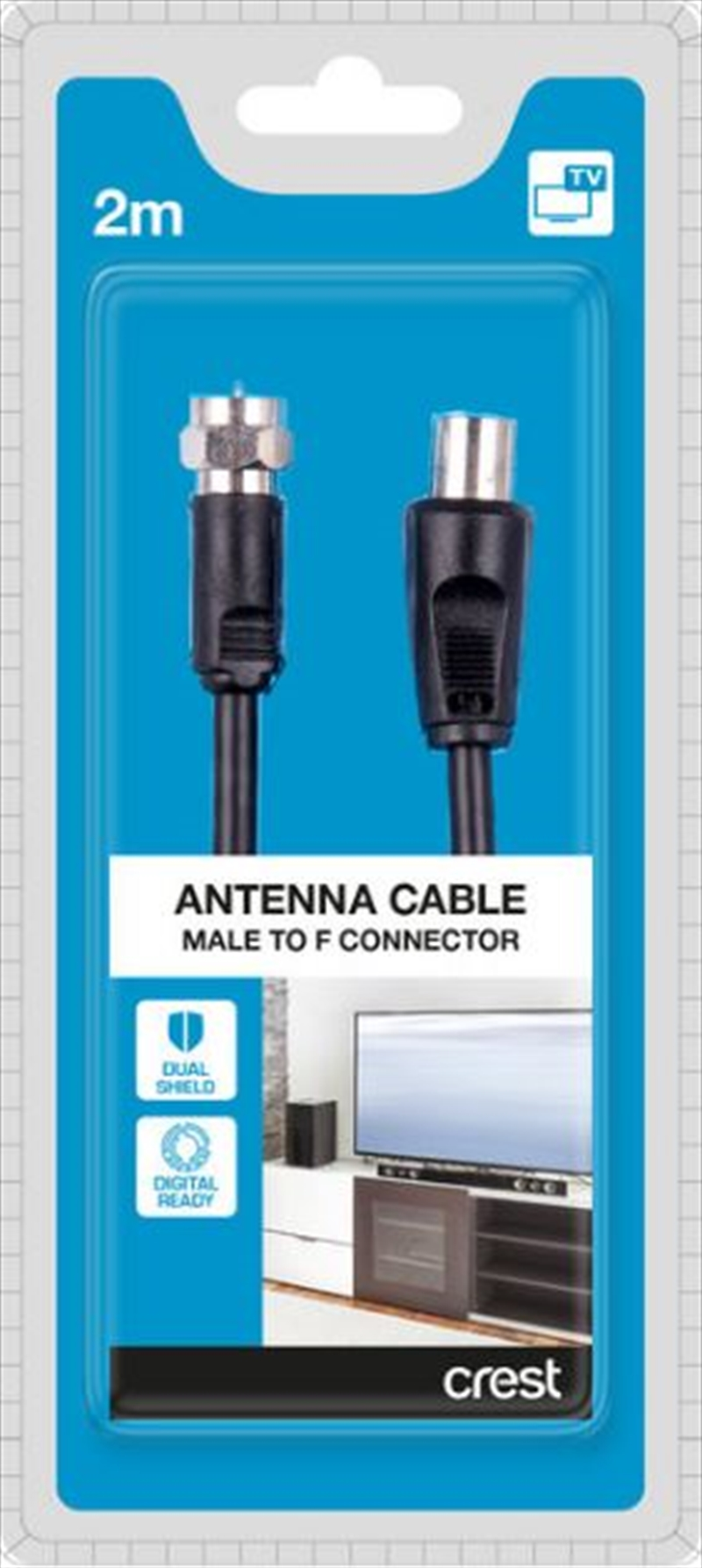 Dual Shield Male to Female TV Antenna Cable - 2M Black | Accessories