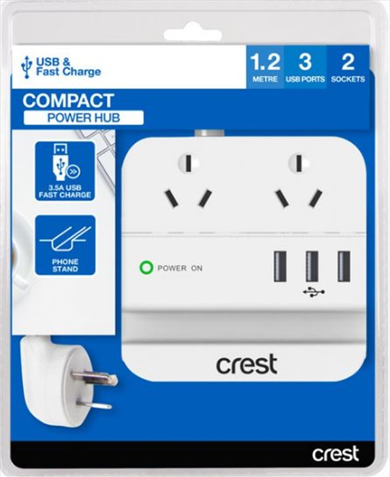 Crest Desktop Power Hub - 2 Socket / 3 USB 3.5A / Phone Stand | Accessories