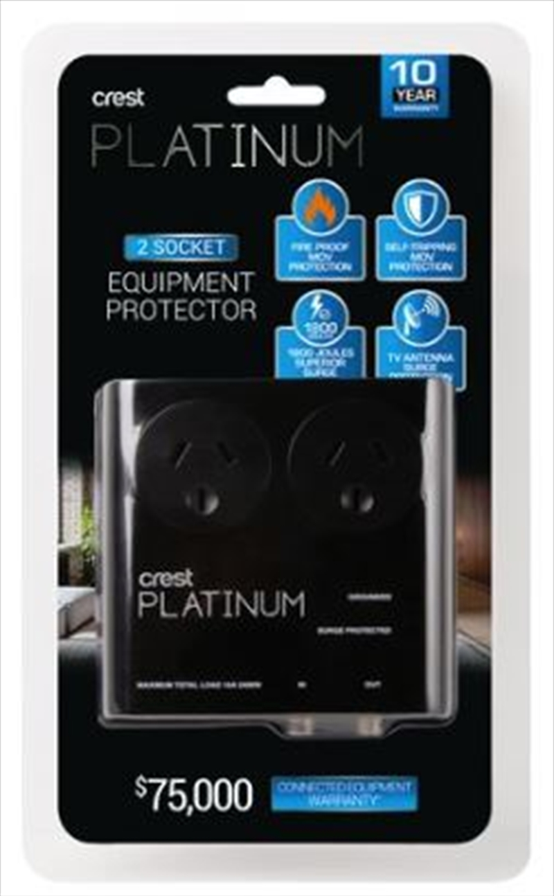 Crest Platinum Surge Protector - 2 Sockets with TV Antenna Protection | Accessories