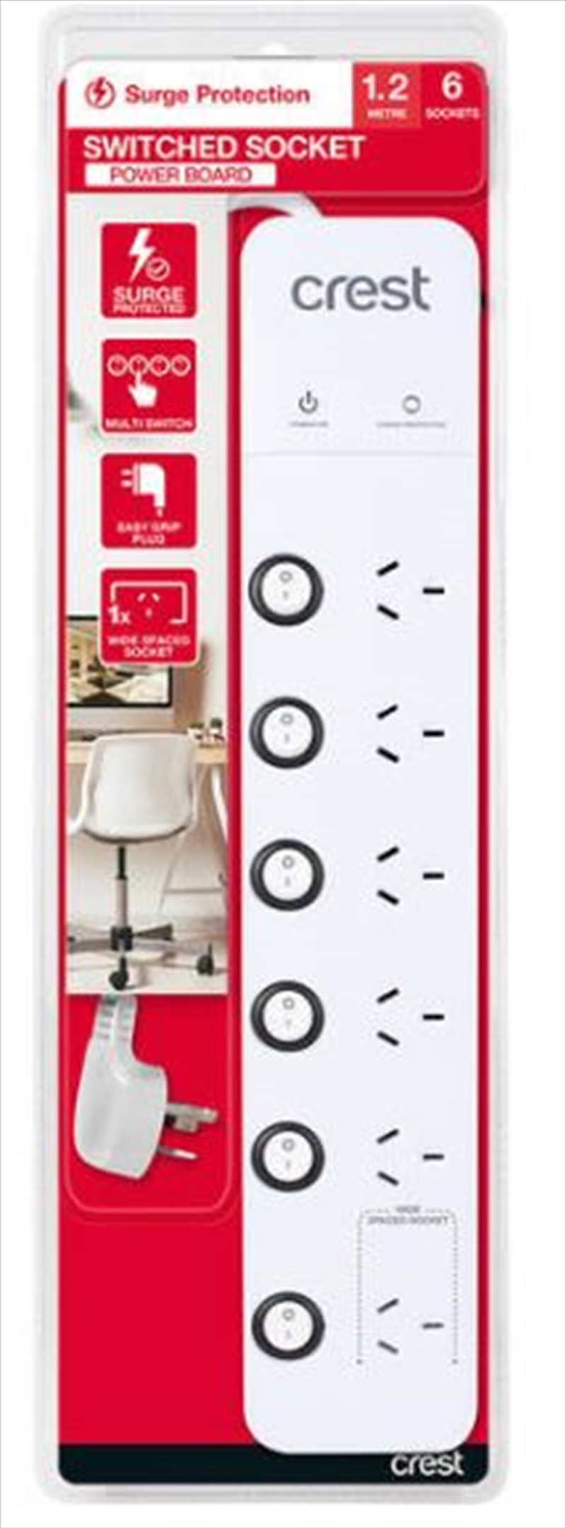 Crest Power Board Surge 6 Sockets / 6 Switches - 1.2M | Accessories