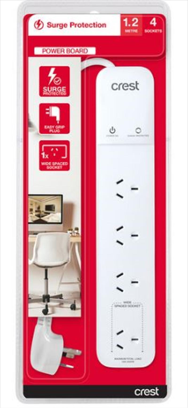 Crest Power Board Surge 4 Sockets - 1.2M   Accessories