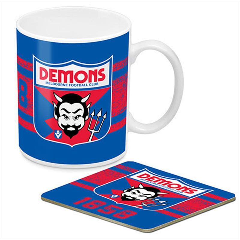 AFL Coffee Mug and Coaster 1st Team Logo Melbourne Demons   Merchandise