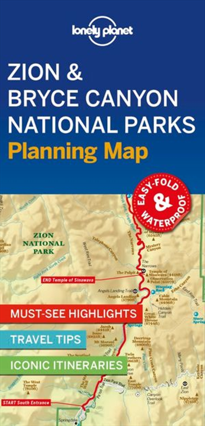 Lonely Planet Travel Guide - 1st Edition Zion & Bryce Canyon National Parks Planning Map | Sheet Map