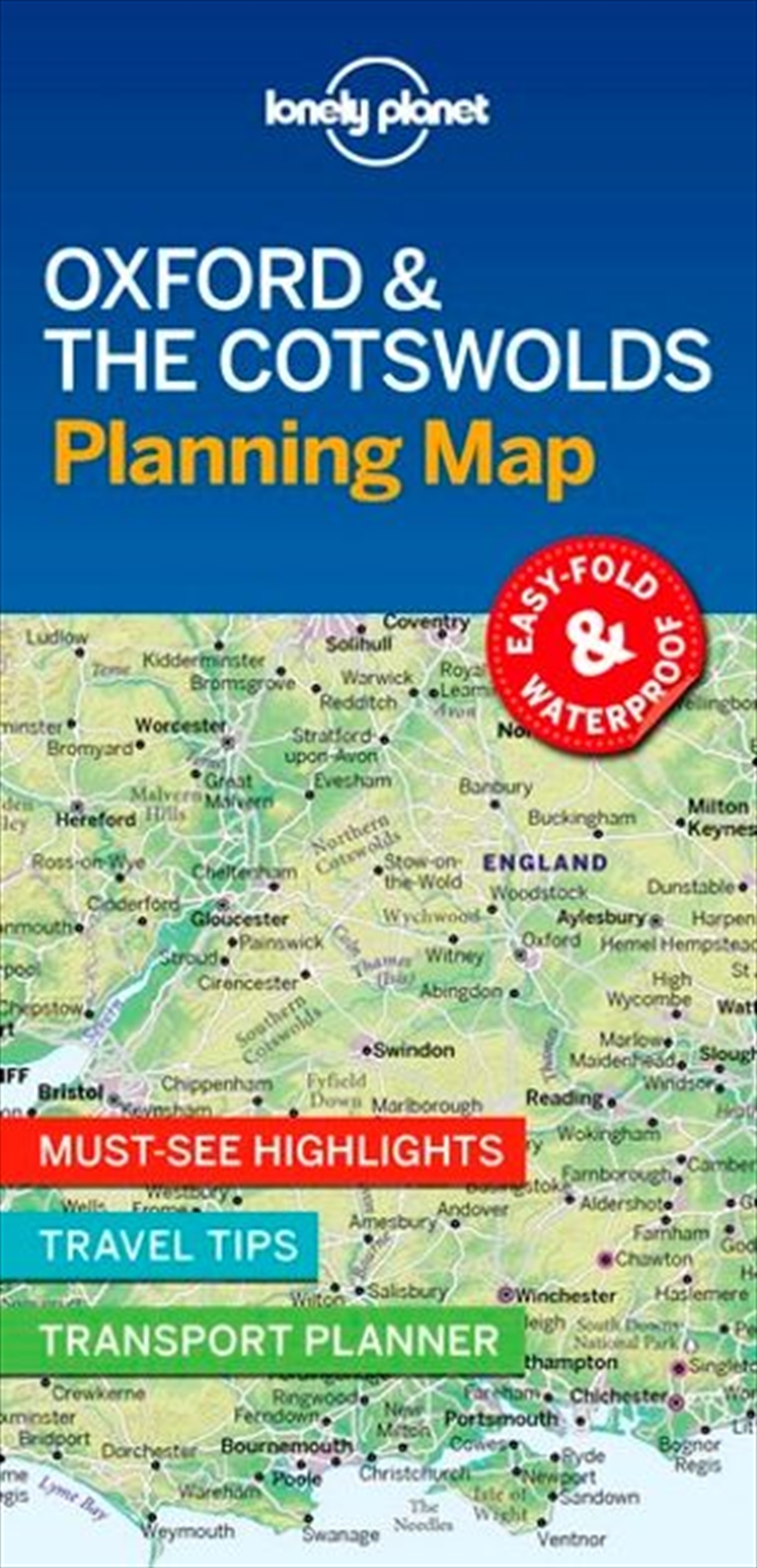 Lonely Planet Oxford & the Cotswolds Planning Map | Sheet Map