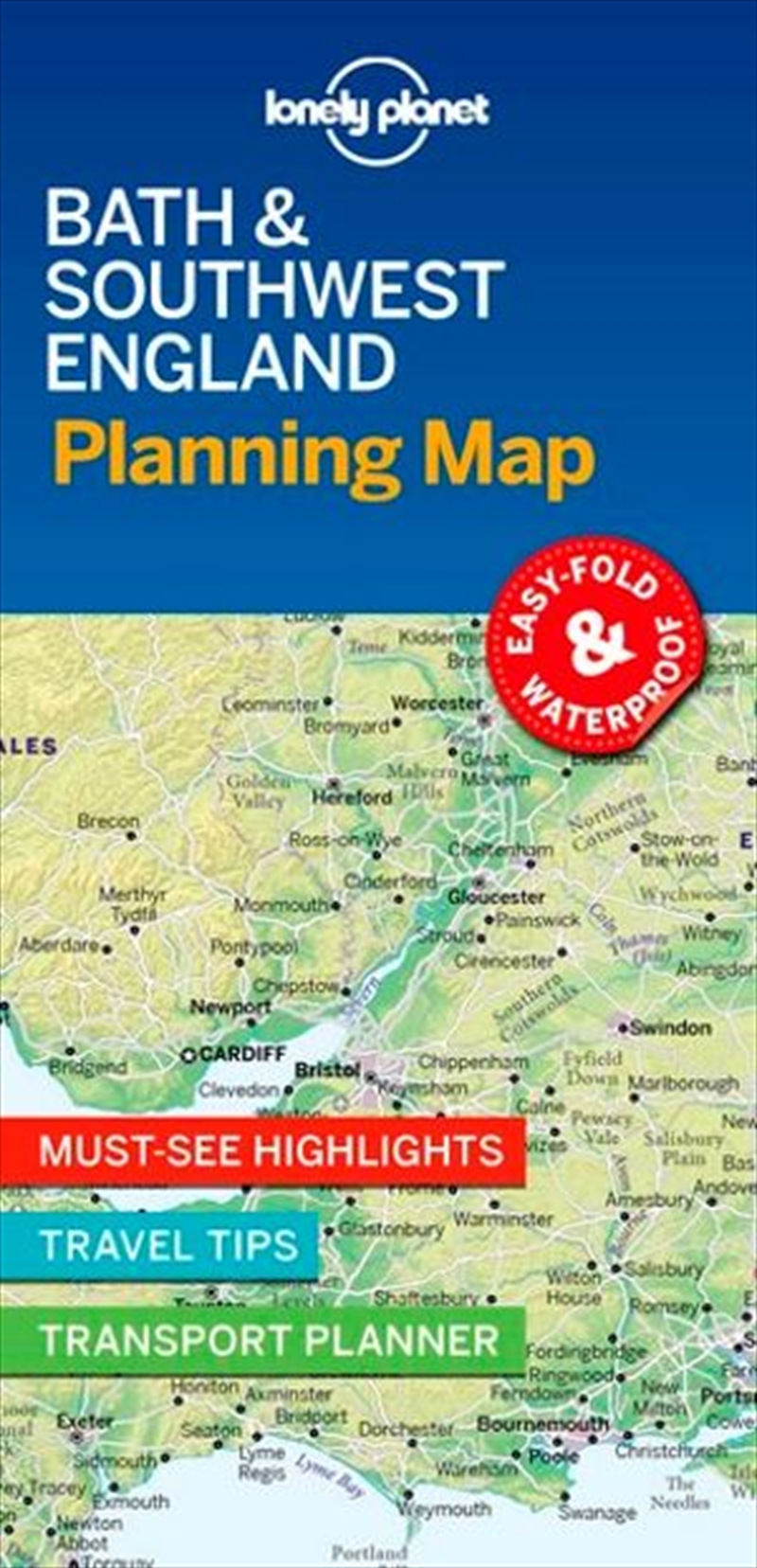 Lonely Planet Bath & Southwest England Planning Map | Sheet Map