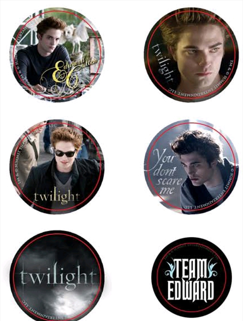 Twilight - Pin Set of 6 Style D Team Edward | Merchandise