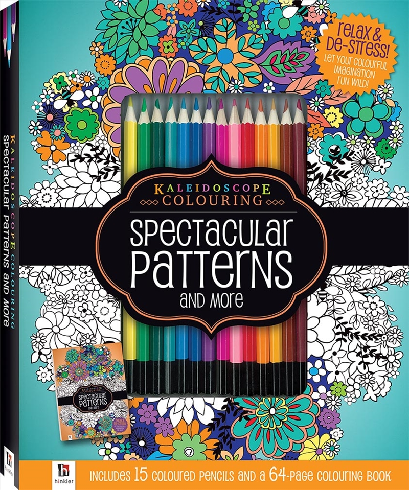 Spectacular Patterns Colouring Kit with 15 Pencils | Hardback Book