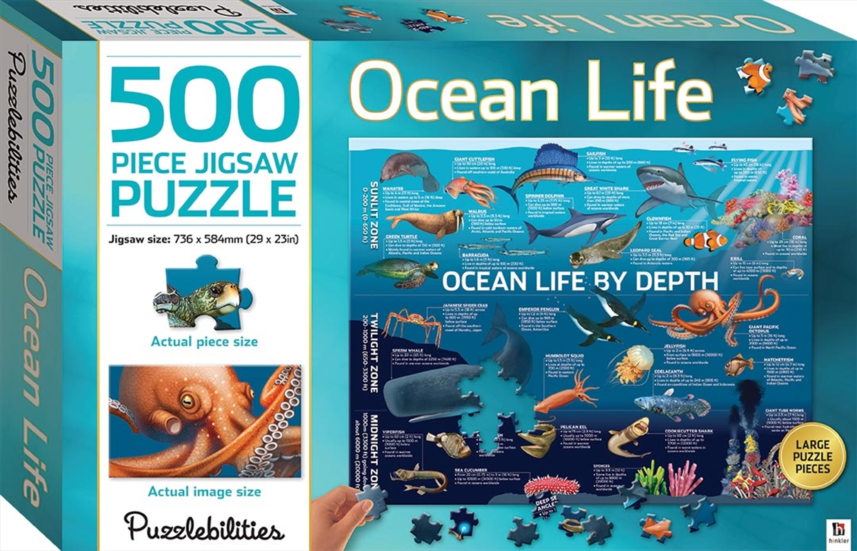 Ocean Life by Depth 500 Piece Jigsaw Puzzle | Merchandise