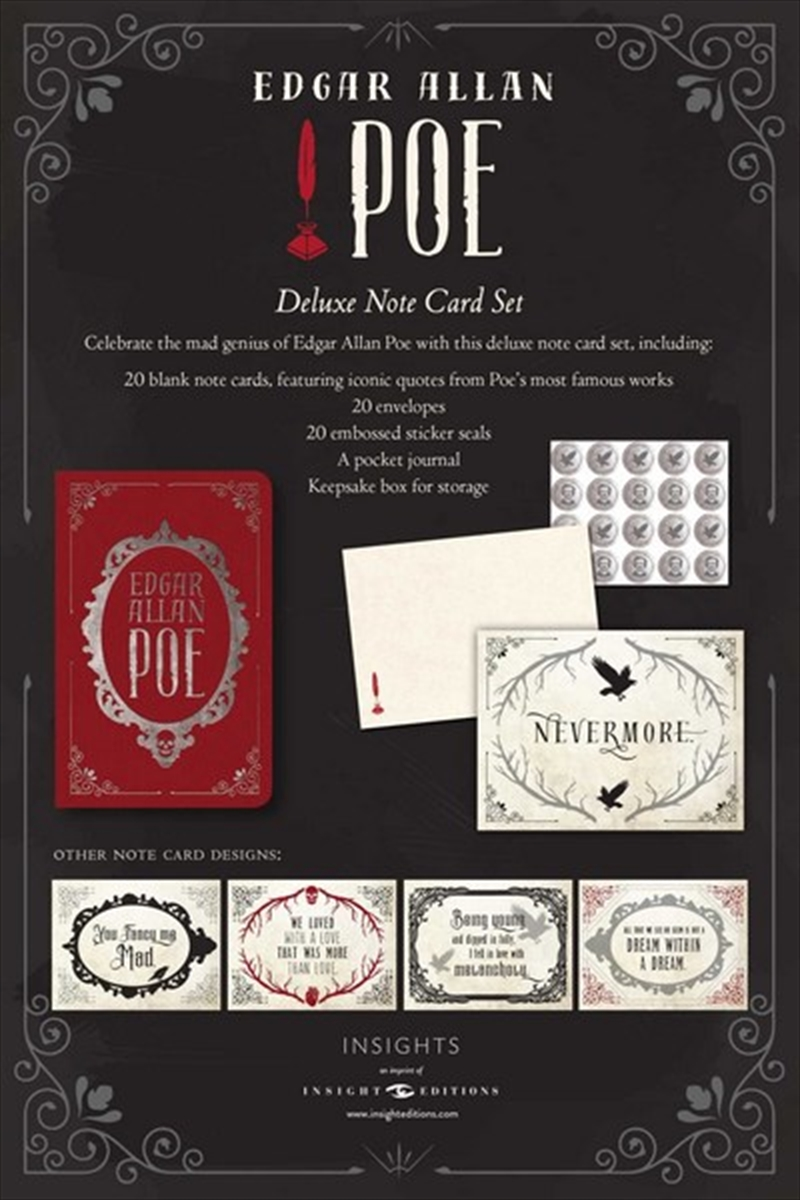 Edgar Allan Poe Deluxe Note Card Set (With Keepsake Book Box) | Merchandise
