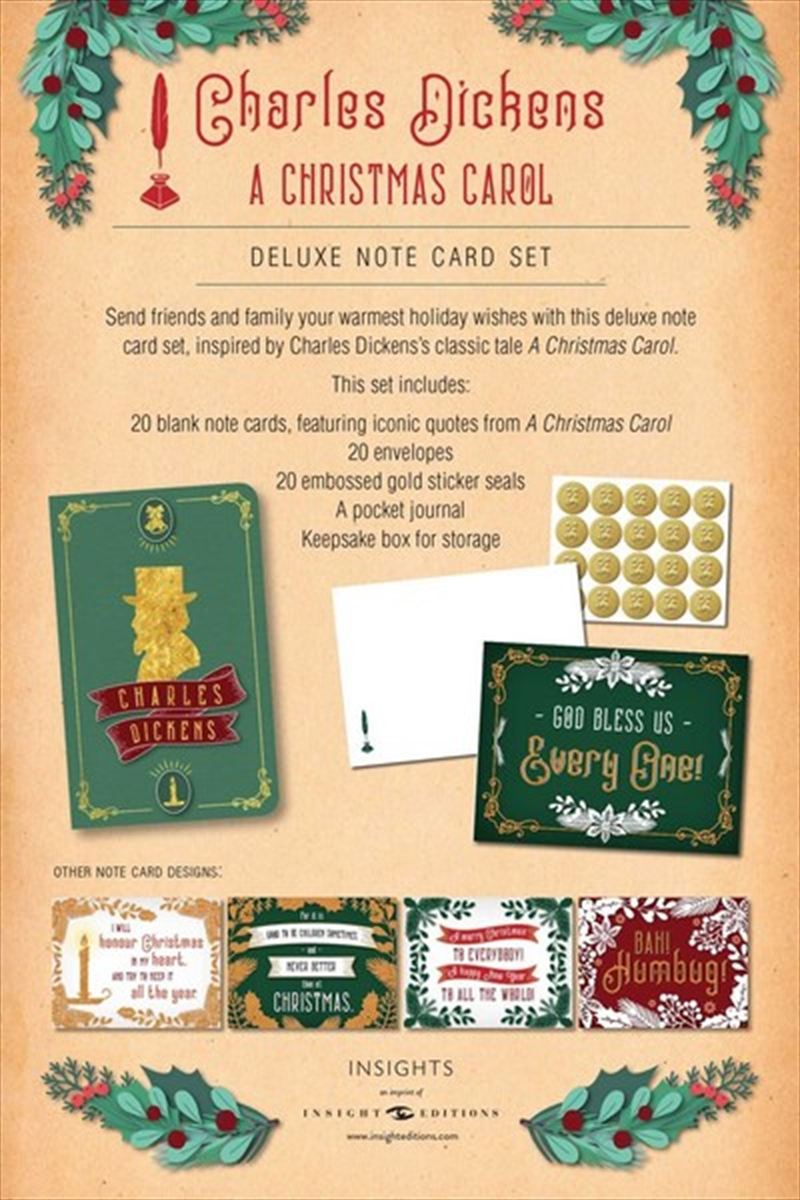 Charles Dickens : A Christmas Carol Deluxe Note Card Set With Keepsake Book Box | Merchandise
