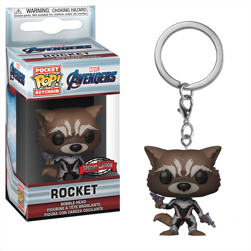 Avengers 4 - Rocket (Team Suit) Pop! Keychain RS | Pop Vinyl