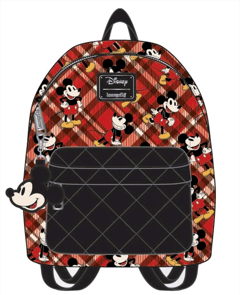 Mickey Mouse - Mickey Tartan Print Mini Backpack | Apparel