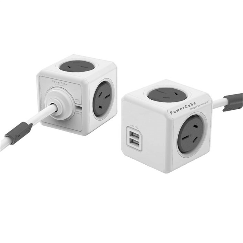 Powercube Extended 3.0m USB Surge - Grey | Accessories