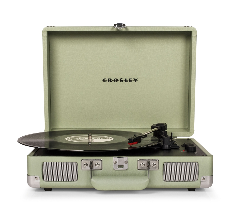 CROSLEY Cruiser Deluxe Portable Turntable - Mint + Free Record Storage Crate | Merchandise