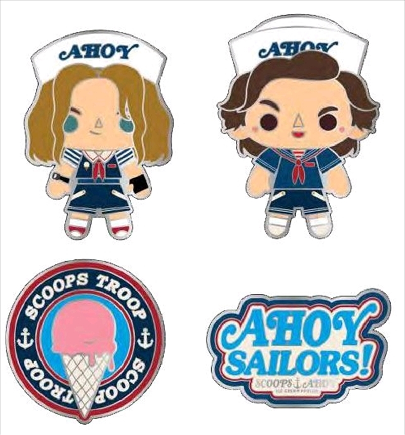 Stranger Things - Scoops Ahoy Enamel Pin 4-pack Buttons