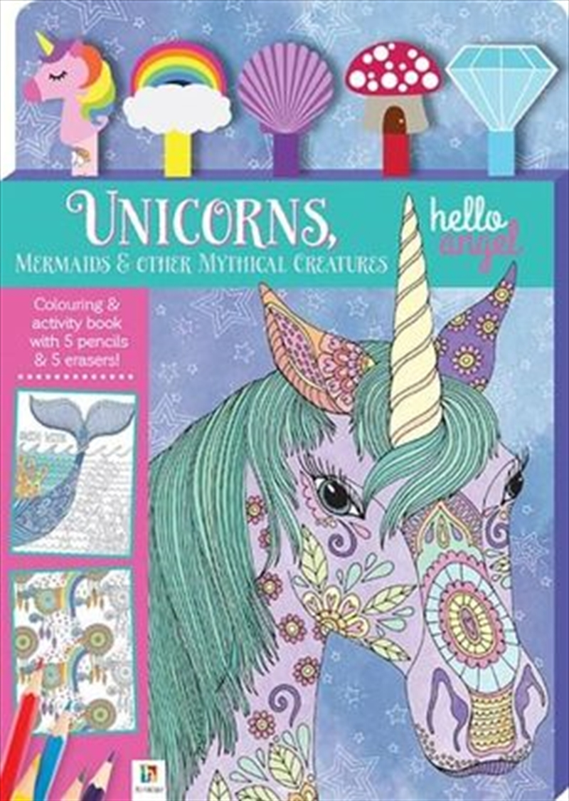 Hello Angel Unicorns 5 Pencil Set - Unicorns, Mermaids & other Mythical Creatures | Hardback Book