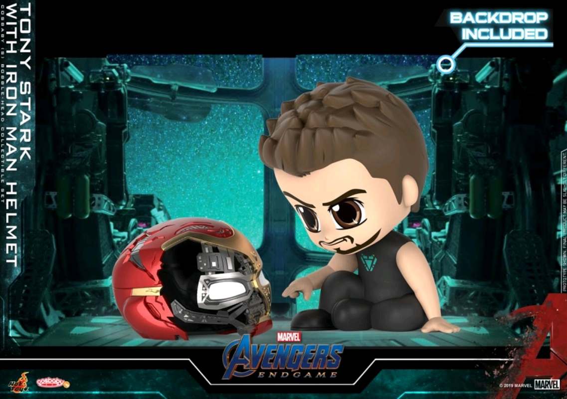 Avengers 4: Endgame - Tony Stark with Helmet & Backdrop Cosbaby | Merchandise