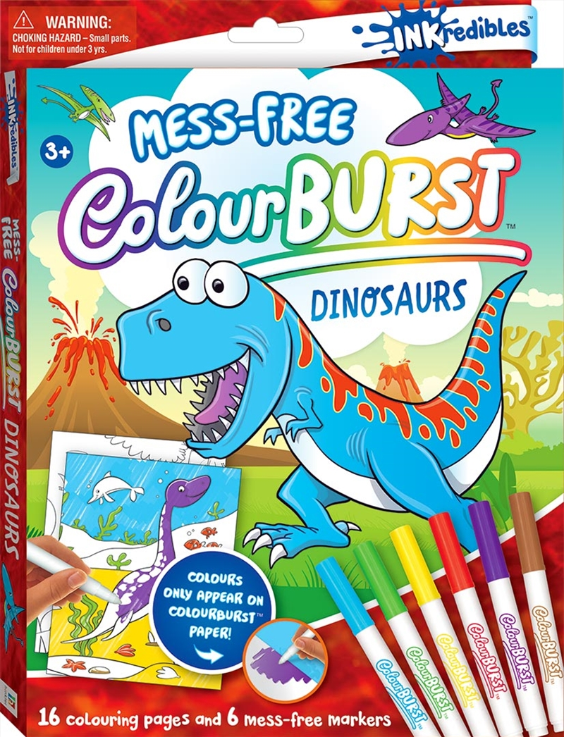 Inkredibles Colour Burst Colouring: Dinosaurs | Hardback Book