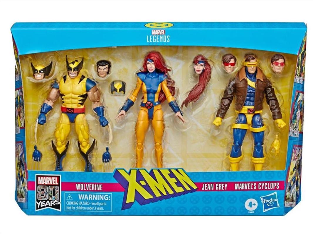 Marvel Legends X-Men Jean Grey, Cyclops, and Wolverine 6-Inch Action Figure 3-Pack   Merchandise