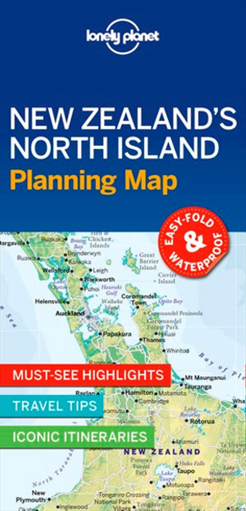 Lonely Planet New Zealand's North Island Planning Map | Sheet Map