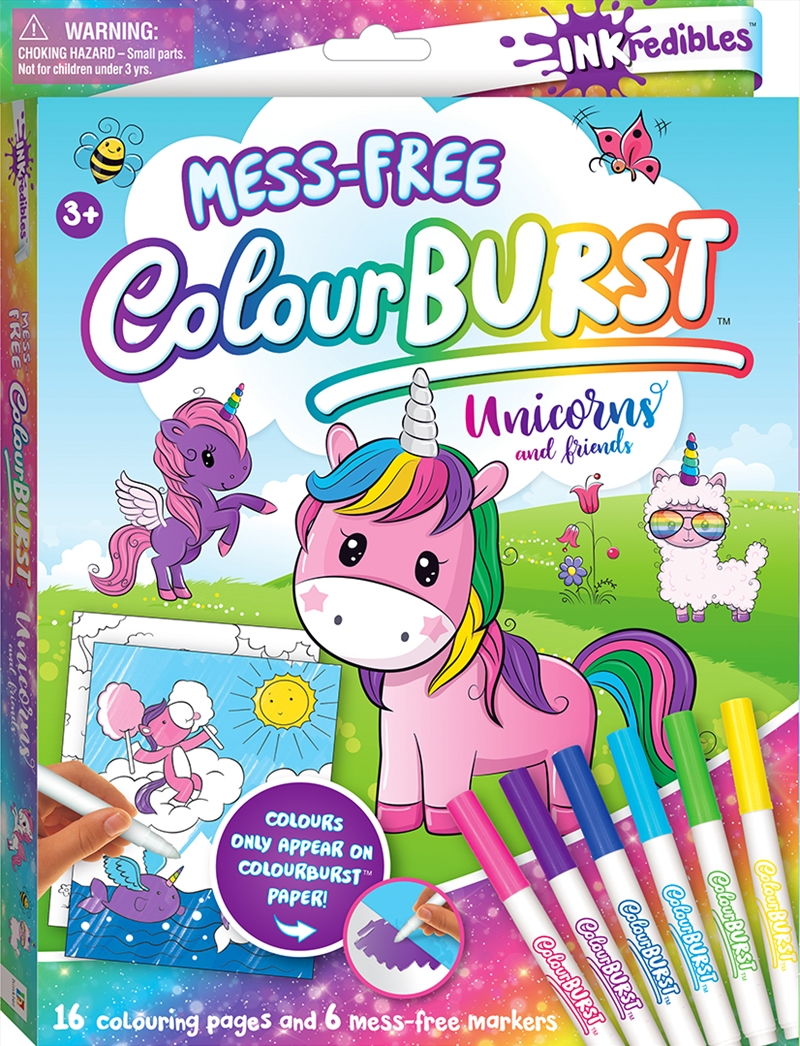 Inkredibles Colour Burst Colouring: Unicorns and Friends | Hardback Book