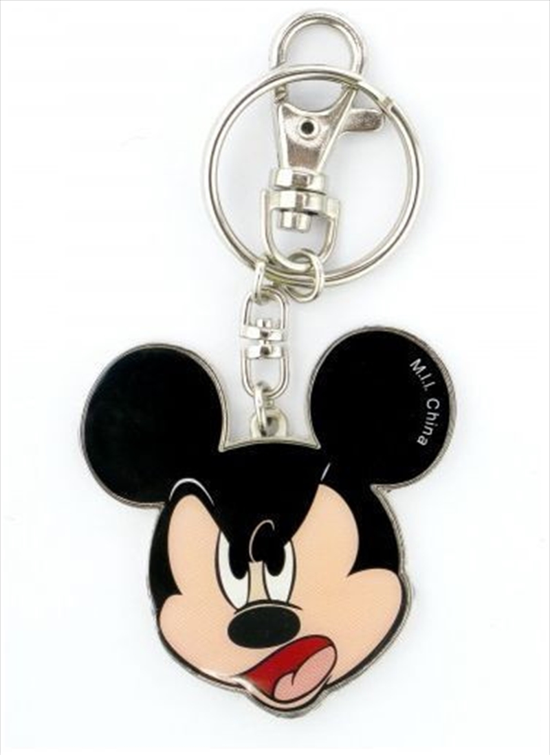 Keyring Pewter Two Sided Coloured Mickey Mouse Happy / Angry Expressions | Accessories